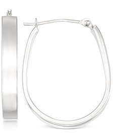 Polished Pear-Shape Hoop Earrings in 10k White Gold