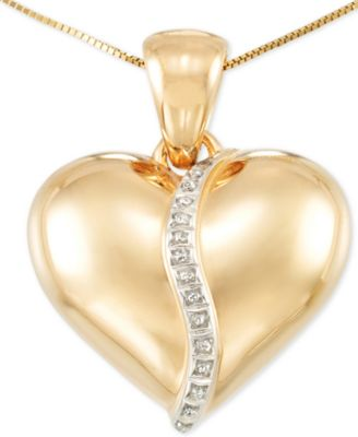 Signature Diamonds Puff Heart Pendant Necklace in 14k Gold over