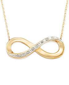 Signature Diamonds™ Infinity Pendant Necklace in 14k Gold over Resin Core and Crystallized Diamond Dust
