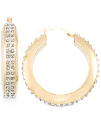 Signature Diamonds Hoop Earrings in 14k Gold over Resin Core