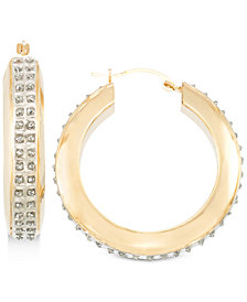 Signature Diamonds™ Hoop Earrings in 14k Gold over Resin Core Diamond and Crystallized Diamond Dust