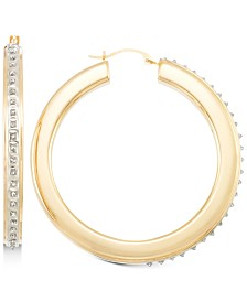 Signature Diamonds™ Thin Hoop Earrings in 14k Gold over Resin Core Diamond and Crystallized Diamond Dust