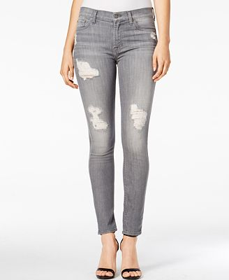 7 For All Mankind Ripped Ankle Skinny Jeans, London Grey Skies ...