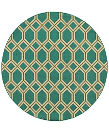 """CLOSEOUT! Tommy Bahama Home  Seaside Indoor/Outdoor 6660 7' 10"""" Round Area Rug"""