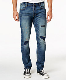 Ring of Fire Men's Slim Fit Stretch Rip & Repair Jeans, Created for Macy's