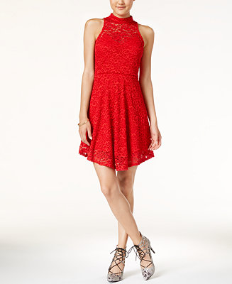 Material Girl Juniors' Lace Mock-Neck A-Line Dress ...