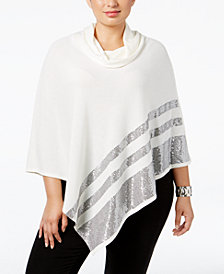 Belldini Plus Size Cowl-Neck Sequined Poncho