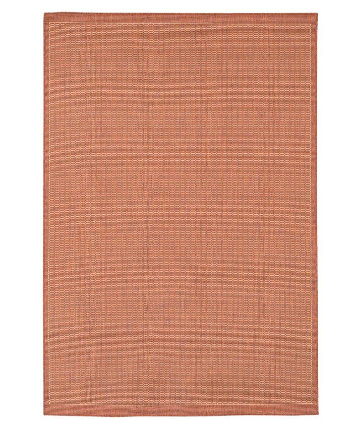 "Couristan - ""Recife"" Saddle Stich Terracotta/ Natural Area Rug, 8' 6"" Round"