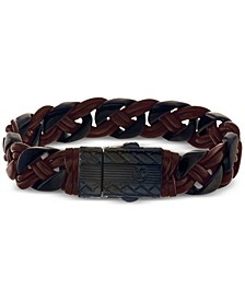 Braided Bracelet in Brown Leather and Ion-Plated Stainless Steel, Created for Macy's
