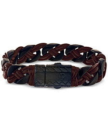 Esquire Men's Jewelry Braided Bracelet in Brown Leather and Ion-Plated Stainless Steel, Created for Macy's