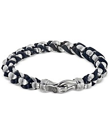 Esquire Men's Jewelry Twist Link Bracelet in Black Leather and Stainless Steel, Created for Macy's