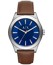 A|X Armani Exchange Men's Dark Brown Leather Strap Watch 44mm AX2324