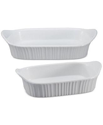 French White 2 Pc. Bakeware Set by Corningware