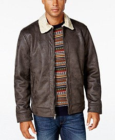 Men's Big & Tall Jacket with Faux Shearling Collar