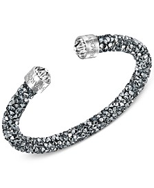 Swarovski Silver-Tone Black Crystal and Crystaldust Open Cuff Bracelet