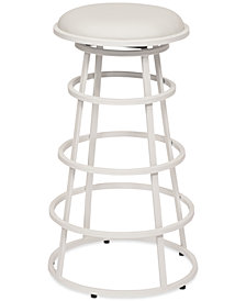 "Ringo 26"" Backless Brushed Stainless Steel Barstool in Gray Faux Leather"