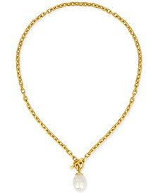 Gold-Tone Baroque Imitation Pearl Pendant Necklace