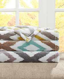 Madison Park Oversized Plush Ikat Diamond Throw