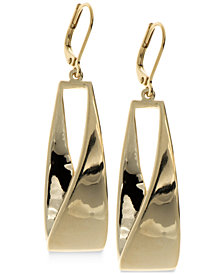 Anne Klein Twisted Metallic Drop Hoop Earrings