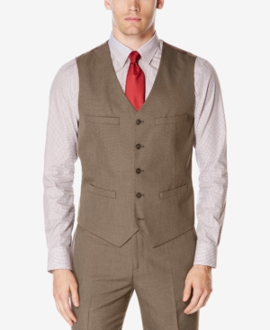 Men's Vintage Inspired Vests Perry Ellis Mens Subtle Plaid Twill Vest Suit Separate $34.99 AT vintagedancer.com