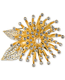 Anne Klein Gold-Tone Crystal Flower Burst Pin, Created for Macy's
