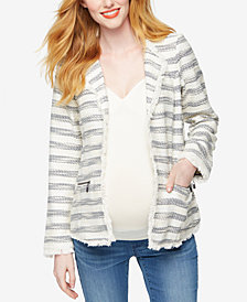 Willow & Clay Maternity Striped Tweed Blazer