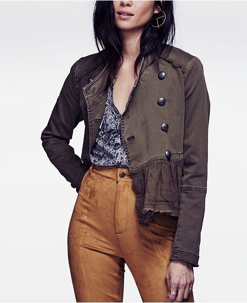 Free People Ruffled Military Jacket