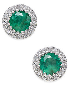 Emerald (5/8 ct. t.w.) and Diamond (1/10 ct. t.w.) Stud Earrings in 14k White Gold