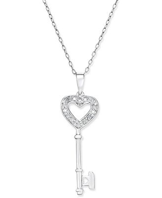 Diamond heart key pendant necklace 110 ct tw in sterling diamond heart key pendant necklace 110 ct tw in sterling mozeypictures Images