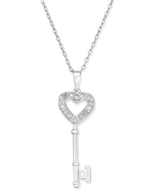 4ce428c40 Diamond Heart-Key Pendant Necklace (1/10 ct. tw) in Sterling Silver