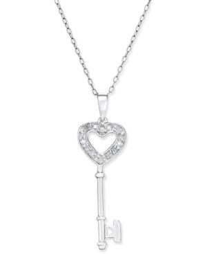 Diamond Heart-Key Pendant Necklace (1 / 10 ct. t.w.) in Sterling Silver
