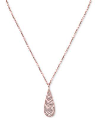 Lauren Ralph Lauren Rose GoldTone Pav Teardrop Pendant Necklace