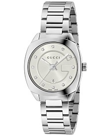 Gucci Women's GG2570 Swiss Diamond Accent Stainless Steel Bracelet Watch 29mm YA142504