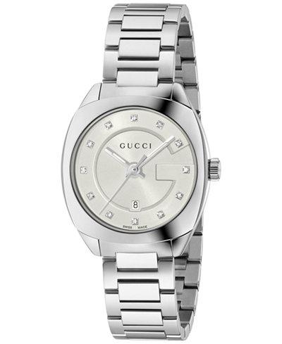 Gucci Women's GG2570 Swiss Diamond Accent Stainless Steel Bracelet Watch 29mm YA142504
