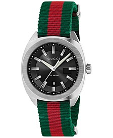 Men's GG2570 Swiss Green-Red-Green Web Nylon Strap Watch 41mm YA142305