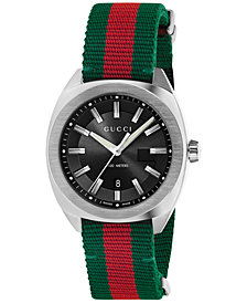 Gucci Men's GG2570 Swiss Green-Red-Green Web Nylon Strap Watch 41mm YA142305