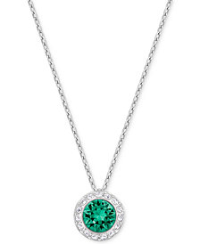 Swarovski Silver-Tone Green Crystal Pendant Necklace
