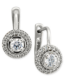 Diamond Halo Leverback Earrings (1/2 ct. t.w.) in 14k White or Yellow Gold