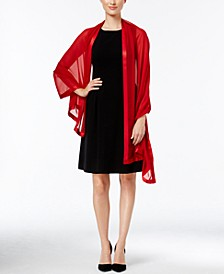 Satin-Trim Chiffon Evening Wrap