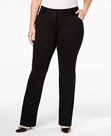 Plus Size Tummy-Control Petite Plus Faux-Leather Trim Trousers, Created for Macy's