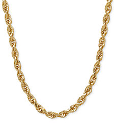 "3mm Rope Chain 24"" Necklace (4mm) in Solid 14k Gold"