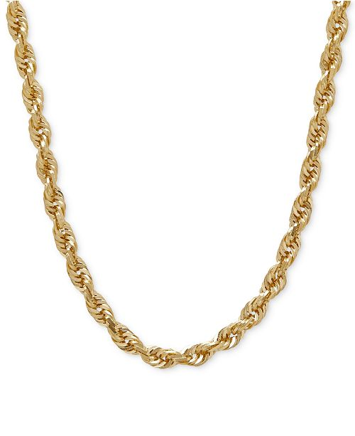 "Macy's 030 Rope Chain 24"" Necklace (4mm) in Solid 14k Gold & Reviews -  Necklaces - Jewelry & Watches - Macy's"