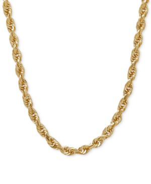 """Image of 030 Rope Chain 24"""" Necklace (4mm) in Solid 14k Gold"""