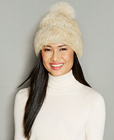 The Fur Vault Fox-Fur-Pom Knitted Mink Fur Beanie