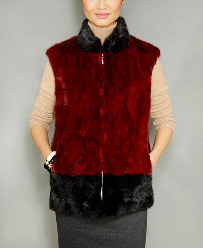 The Fur Vault Colorblocked Mink Fur Vest