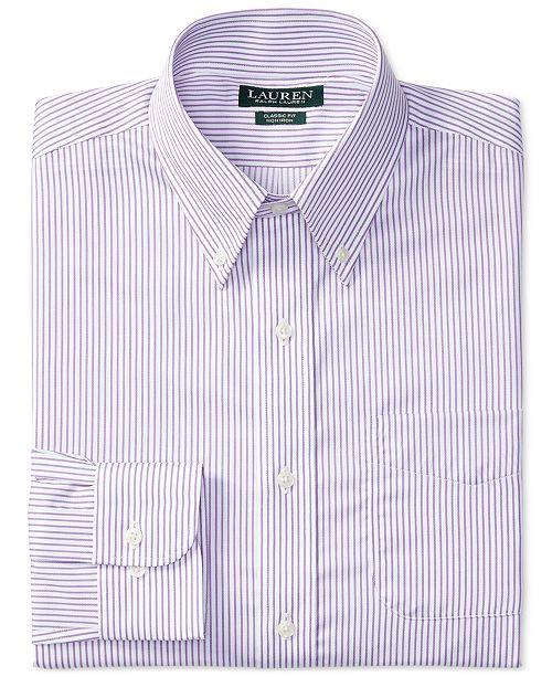 cb77117f ... Lauren Ralph Lauren Men's Classic-Fit Non-Iron White Purple Stripe  Dress Shirt ...