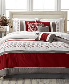 CLOSEOUT! Fletcher Red 7-Pc. Full Comforter Set