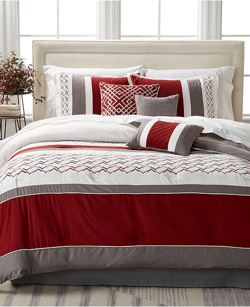 Hallmart Collectibles CLOSEOUT! Fletcher Red 7-Pc. Comforter Set, Created for Macy's