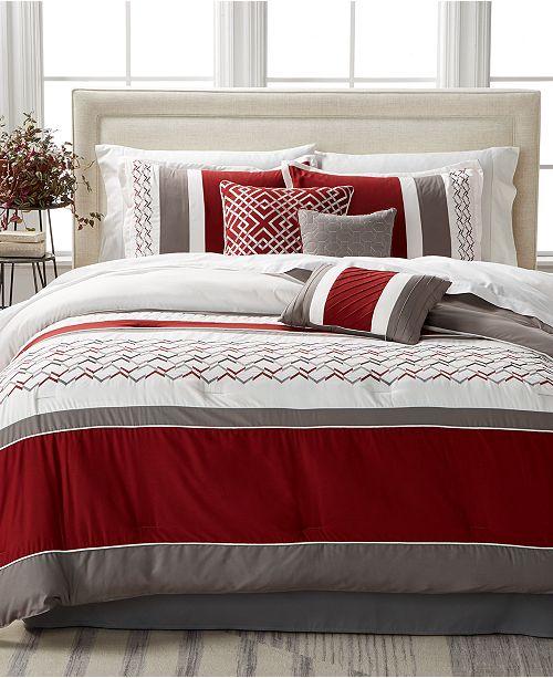 Hallmart Collectibles CLOSEOUT! Fletcher Red 7-Pc. Queen Comforter Set