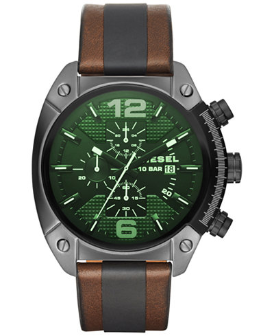 diesel watches at macy s diesel watch macy s diesel men s chronograph overflow brown leather and black polyurethane strap watch 49x54mm dz4414
